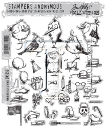 CMS250 Stampers Anonymous Tim Holtz Cling Mounted Stamp Set - Mini Bird Crazy & Things